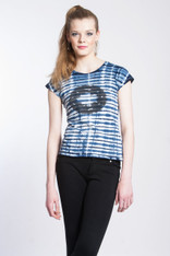 WAVE TIGER LOGO SHIBORI TEE: Organic Cotton white/indigo short sleeve