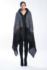 QUILTED ZIPPER SHAWL: Black on Black Pinstripe