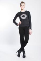 WAVE TIGER LOGO SHIBORI TEE: Organic Cotton black/indigo long sleeve