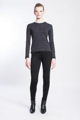 WAVE TIGER SHIBORI TEE: organic cotton, black/indigo, long sleeve