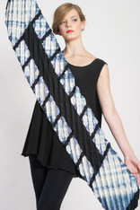 ACCORDION SHAWL #2: White+Black+Indigo