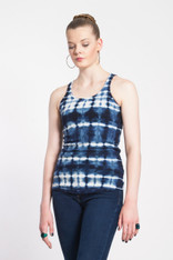 RANDOM PLAID SHIBORI TANK TOP: organic cotton