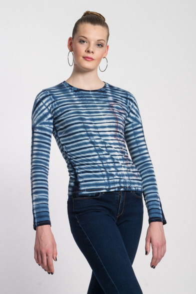 WAVE TIGER LOVE SKETCH SHIBORI TEE: organic cotton