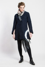 Matelasse Jacket: Long Shibori Arch (cotton with Japanese vintage ikat collar lining)