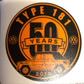 50th ANNIVERSARY STICKER ORANGE/BLACK 3 x 3""