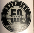 50th ANNIVERSARY STICKER SILVER/BLACK 3 x 3""
