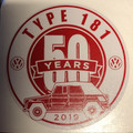 50th ANNIVERSARY STICKER RED/WHITE 3 X 3""