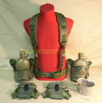 US Army Lot LBE MEDIUM PISTOL BELT W/CANTEENS, CUP, CANTEEN COVERS, AMMO POUCHES AND SUSPENDERS VERY GOOD CONDITION
