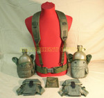 US Army Lot PISTOL BELT w/CANTEENS, CANTEEN COVERS, FIRST AID POUCH, AMMO POUCHES AND SUSPENDERS VERY GOOD CONDITION