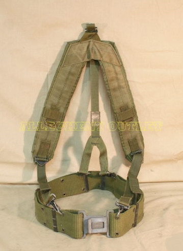 b5e8b5af6860e US MILITARY LBE Y SUSPENDERS w/ LC2 LARGE PISTOL WEB BELT SIZE: LARGE VERY  GOOD CONDITION