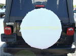 4 WHITE Tire Wheel Covers Car Trailer RV Camper NEW/ LIKE NEW
