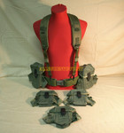US Military LARGE Canteen Pistol Web Belt / Y Suspenders with 5 Small Arms Ammo Pouches LOT NICE