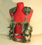 US GENUINE MILITARY Camo ENHANCED LBV Load Bearing Vest w/ LARGE BLACK BUCKLE Pistol Web Belt MAKES A GREAT PAINTBALL VEST VERY GOOD CONDITION