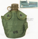 GENUINE U.S. MILITARY ISSUE            OLIVE DRAB GREEN 1 QT Cover & Alice Clips & 1 QT Canteen with Flat Style Cap w/ FREE P-38 Can Opener