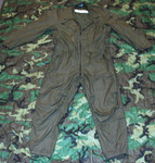 USGI Military OD CVC Fire Resistant Nomex OVERALLS FLIGHTSUIT Very Good