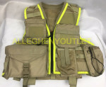 Vis-Tac Military Style Zipper LBV Load Bearing Vest w/ MOLLE Pouches Brown EXC