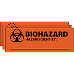"Biohazard Identification Labels, Small, 1"" x 3"", Pack of 100"
