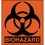 "Biohazard Label, Small, 1"" x 1"", Pack of 100"
