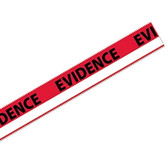 """Tamper Evident """"Evidence"""" Tape Strips with White Stripe, Box of 100"""