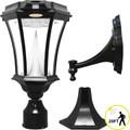 LED Solar Lantern - Black Cast Aluminum - Beveled Glass -