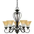 Five-Light Chandelier - Palladian Bronze - Champagne Marble Glass
