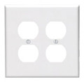 Leviton 80516-W Duplex Wallplate, 2-Gang, Thermoset, White