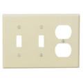 Leviton 80521-I Wallplate, 3-Gang, (2) Toggle, (1) Duplex, Thermoset, Ivory