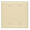 Leviton 80525-I Blank Wallplate, 2-Gang, Thermoset, Ivory