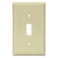 1-toggle switch; 1 gangs; designated size jumbo/oversize; steel; ivory; smooth semi gloss