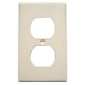 Mulberry 1-Gang Duplex receptacle wallplate in ivory color features a painted/wrinkled finish and is made of stainless steel for durability. Wallplate measures 2.750 Inch x 4.500 Inch and incorporates 1-duplex receptacle cutout. It is 0.03-Inch thick. Standard-size wallplate is UL certified.