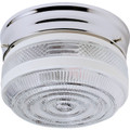 "10"" Clear And White Drum Glass Ceiling Fixture -"