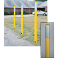 Soil Mount Post with Round Top, Yellow & Silver Reflective