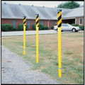 Soil Mount Post with Flat Top, Yellow & Black Reflective