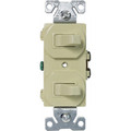 EATON 15A COMBINATION TWO SINGLE POLE SWITCHES IVORY 271V-BOX