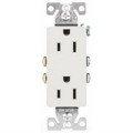 COOPER DECORA TYPE GROUNDING DUPLEX RECEPTACLE  WHITE  1107-9W