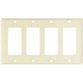 COOPER DECORATOR WALLPLATE FOUR GANG COVER ALMOND 2164A-BOX