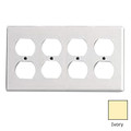 LEVITON FOUR GANG DUPLEX RECEPTACLE WALLPLATE COVER WHITE 86041-W