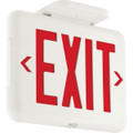 LED Exit Sign, AC Only, Red Letters, White, Damp Location Listed