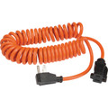 10' Orange Coiled Extension Cord - 16/3 Gauge - SJT Wire - Ultra Flexible - Flame Retardant