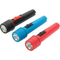 "2-Cell LED AA Flashlight ""Pkg Of 6"" - 12 Lumens - 23-Hour Run Time - Bright Focused Beam - Anti-Roll Feature - Assorted Colors: Black, Teal And Red - Two AA Heavy-Duty Batteries Included."
