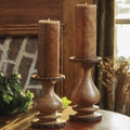 """Wood with bark trim candle holder 9"""""""