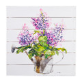 """23.5"""" Lilac Watering Can Textured Wood Wall Art"""