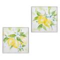 15.5 Watercolor Lemons Canvas Framed Wall Art Set of 2