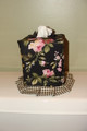 Cottage Rose Coll. Black Kleenex Box Cover