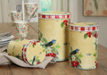 Set 3 Yellow and Red Round Tins With Birds
