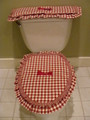 Red and Cream Check- Commode Set