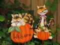 Set of 2 Calico Cats on Pumpkins