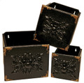 Black Set of 3 Square Wooden Draw Wall Decor
