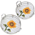 Set of 2 Sunflower Tays with Metal Rims and Handles