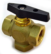 Brass Ball Valve, 3 Way, Female NPT 3/8""